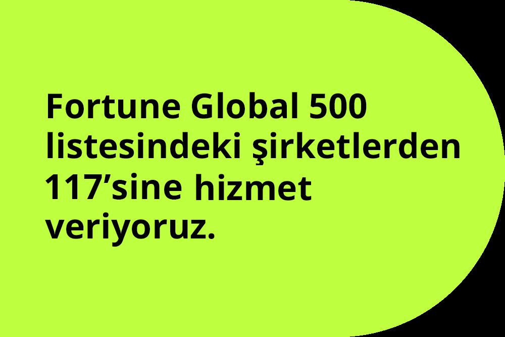 Fortune Global 500 listesindeki şirketlerden 52sine hizmet veriyoruz.